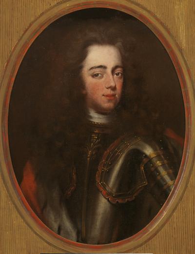 Portret van prins Johan Willem Friso in staand ovaal, schouderstuk trois-quart naar rechts, aanziend. De prins draagt het lange donkere haar los en golvend over de schouders en is gekleed in een stalen harnas met rode mantel en rode stofstroken tussen de harnasplaten. Als we tegenwoordig aan Johan Willem Friso denken, komt ons altijd dit portret voor ogen. Het is dan ook het enige dat van deze prins op volwassen leeftijd is gemaakt. De eerste versie ervan ontstond in 1710 en werd geschilderd door de overigens vrij onbekende kunstenaar Louis Volders (werkzaam 1690-1713) als onderdeel van de decoratie van de zogenaamde Nassauzaal in het Stadhouderlijk Hof te Leeuwarden. In de eikenhouten betimmering van die zaal zijn de levensgrote portretten opgenomen van Johan Willem Friso, zijn vrouw Maria Louise van Hessen-Kassel en zijn ouders Hendrik Casimir II van Nassau-Dietz en Henriette Amalia van Anhalt-Dessau, allemaal geschilderd door Volders. Drie oudere groepsportretten van diverse graven van Nassau vullen het arrangement aan. Deze zaal maakt thans onderdeel uit van Hotel Paleis Het Stadhouderlijk Hof in Leeuwarden. Over Louis Volders is niet veel bekend. Wij weten slechts dat hij afkomstig was uit Brussel. Mogelijk heeft Johan Willem Friso hem daar ontmoet, toen hij in de Zuidelijke Nederlanden verbleef tijdens een van de vele veldtochten waaraan hij deelnam om de opmars van de Franse koning Lodewijk XIV te stuiten. Vast staat wel dat Volders de hofschilder van de Friese Nassaus werd en in 1712 zelfs over een eigen kamer in het Stadhouderlijk Hof te Leeuwarden beschikte. Ook de Friese adel maakte ruimschoots van zijn diensten gebruik. Volders' werk sloot aan bij de internationaal gangbare mode van hofportretten, waarop de modellen in volle staatsie zijn uitgebeeld. Toch doen Volders' portretten wat gekunsteld aan. Dat komt door de onnatuurlijke pose waarin hij zijn prinsen en prinsessen neerzet, het lichaam naar de ene kant gedraaid, een been elegant vooruit gestoken, 