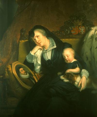 Dit schilderij van Jan Adam Kruseman (1804-1862) past volledig in de sfeer van de nationalistisch getinte Romantiek van de eerste helft van de negentiende eeuw. Het was de tijd van de historiestijlen, waarmee men teruggreep op de grote voorbeelden uit het verleden om het zelfbewustzijn van de eigen tijd te versterken. In de Nederlanden spiegelde men zich bij voorkeur aan de Gouden Eeuw, toen de Republiek wereldleider was op het gebied van handel en kunsten. Meestal kozen historieschilders een concrete gebeurtenis uit het verleden tot onderwerp, maar Kruseman liet in dit schilderij zijn fantasie de vrije loop. Nergens immers staat het uitgebeelde tafereel precies beschreven. We kunnen ons alleen maar voorstellen dat Louise de Coligny (1555-1620) na de moord op haar echtgenoot Willem van Oranje in 1584 overmand was door verdriet. Kruseman heeft haar uitgebeeld met tranen in de ten hemel opgeslagen ogen, het hoofd rustend op haar hand, de traditionele pose voor verdriet en melancholie. Haar jonge zoontje Frederik Hendrik (1584-1647) deelt in haar rouw, maar ligt onschuldig slapend tegen haar aan. Hij belichaamt de continuïteit en de hoop op de toekomst. Ook de trouwe hond van de prins voelt het verdriet. Met een droevige blik staart hij naar de beeltenis van zijn overleden meester. Om over de identiteit van de personen geen twijfel te laten bestaan, heeft Kruseman de alliantiewapens van Willem van Oranje en Louise de Coligny op de rugleuning van de bank aangebracht. De hermelijnen mantel tenslotte illustreert de vorstelijke status van de weergegeven personen. Jan Adam Kruseman was een van de beste Nederlandse schilders van zijn tijd. Hij was niet alleen in staat emoties via zijn schilderijen over te brengen, maar hij beschikte tevens over een virtuoze schilderwijze. De stofuitdrukking en het fraaie kleurgebruik maken dit schilderij mede tot een van de topstukken van de Nederlandse Romantiek. Dit stuk is ingelijst in een vergulde en bewerkte 19de eeuwse lijst, voorzien 