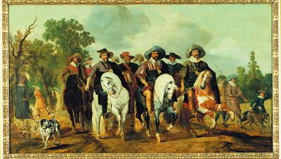 Ruitergroep en face, met portretten van de zonen van prins Willem I: Philips Willem (1554-1618), Maurits prins van Oranje (1567-1625), Frederik Hendrik (1584-1649), en hun neven Willem Lodewijk (1573-1620) en Ernst Casimir (1573-1632), graven van Nassau-Dietz, stadhouders van Friesland, Groningen en Drenthe. De heren dragen vrijwel uniforme hoeden en zijn geportretteerd in een landschap. De 'Ruiterstoet' van Gerrit Claesz. Bleker (1592/3-1656) is een eerbetoon aan de prinsen van Oranje en hun neven, de graven van Nassau, die hun lot hadden verbonden aan de vrijheidsstrijd in de Nederlanden en door wier inzet de opstand tegen Spanje zich ten goede had gekeerd. Bleker liet zich bij zijn schilderij inspireren door een prent van Adriaen van de Venne, die in 1621, bij het aflopen van het Twaalfjarig Bestand, was verschenen. Omringd door pages en honden rijdt de vorstelijke cavalcade door een landschap in de omgeving van Den Haag. Maar hoe realistisch de voorstelling ook oogt, de scène kan zich in werkelijkheid nooit zo hebben afgespeeld, want sommigen van de geportretteerden waren in 1621 al overleden. Ons schilderij, dat tot voor kort aan Paulus van Hillegaert I werd toegeschreven, steunt slechts losjes op Van de Vennes voorbeeld. Bleker nam alleen het idee over, maar werkte dat op een zelfstandige manier uit. Zo paste hij de compositie aan door de horizon te verlagen en de paarden realistischer weer te geven. Hij verving de stijve, hoge hoeden door de slappe, breedgerande modellen die omstreeks 1625 in de mode waren, en hij bracht het aantal herkenbare personen terug tot vijf. Vooraan zijn van links naar rechts de prinsen Maurits (1567-1625), Philips Willem (1554-1618) - afgebeeld met keten van Orde van het Gulden Vlies, great George - en Frederik Hendrik (1584-1647), wiens paard chevaucheert, te zien. Maurits en Frederik Hendrik dragen beiden een blauw halslint en de Orde van de Kouseband, Lesser George. Op de tweede rij herkennen we de Friese stadhouders Ernst Casimi