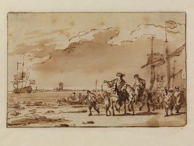 Op de voorgrond rijden koning-stadhouder Willem III en Hans Willem Bentinck, geflankeerd door een postillon en een zekere Jillis -een boer uit de omgeving- die het gezelschap bij de landing hadden bijgestaan. Aan de overkant is de kerktoren van Den Briel zichtbaar, links op de rede de Mary, het schip waarmee de oversteek uit Engeland was gemaakt. Bakhuizen maakte deze tekening met pen en bruine inkt. Het is een snelle rake schets, die later met penseel is gewassen. Mogelijk was het een eerste opzet voor een van de schilderijen, die hij aan deze gebeurtenis wijdde. Deze tekening lijkt, evenals onze twee schilderijen, een realistische weergave van de gebeurtenissen. Op het bekendste schilderij met dit onderwerp, dat zich in het Mauritshuis in Den Haag bevindt, heeft de landing het karakter van een triomfale intocht gekregen. Ludolf Bakhuizen (1630-1708) was een van de beroemdste marineschilders van de zeventiende eeuw. Hij blonk niet alleen uit in de weergave van de grijsgroene Noordzee, maar ook in de nauwkeurige tekening van de indrukwekkende schepen en hun tuigage. Binnen zijn oeuvre nemen voorstellingen van de overtocht van koning-stadhouder Willem III in 1691 een bijzondere plaats in. Hij wijdde er niet minder dan vijf tekeningen en drie schilderijen aan. Twee schilderijen en een tekening bevinden zich in de collectie van Paleis Het Loo. Voor de eerste keer sinds hij in 1689 tot koning van Engeland was gekroond, keerde Willem III in januari 1691 naar de Republiek terug. Aanleiding was een conferentie van de anti-Franse bondgenoten in Den Haag. Het weer was grimmig. Na in Gravesend vijf dagen op gunstige wind te hebben gewacht, werd in de nacht van 28 op 29 januari de oversteek naar Oostende gemaakt. Vervolgens ging het noordwaarts. Uiteindelijk bereikte men op 31 januari Goeree. Zware ijsgang belemmerde de schepen dicht onder de kust te komen, zodat het verkleumde gezelschap eerst in sloepen moest overstappen. Nadat iedereen wat was bijgekomen, werd de oversteek 