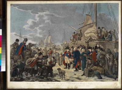 Handgekleurde historieprent met tweeregelig onderschrift. Het vertrek van prins Willem V naar Engeland was een van de belangrijkste gebeurtenissen van de achttiende eeuw. Het markeerde het eind van meer dan twee eeuwen stadhouderschap van de Oranjes in de Nederlanden. Geen wonder dus dat dit dramatische ogenblik meerdere malen in prent is gebracht. De mooiste van deze serie is de hier besproken stippelgravure door Joannes Bemme (1775-1841) naar ontwerp van Dirk Langendijk (1748-1805) en Christoffel Meijer (1776-1813). Op 18 januari 1795 vertrok de stadhouderlijke familie vanuit Scheveningen per vissersboot naar Engeland, een operatie die reeds lang tevoren was voorbereid. Nadat de prinsessen en het kind, de latere koning Willem II, zich 's ochtends vroeg hadden ingescheept, begaf prins Willem V zich rond het middaguur met zijn zonen Willem en Frits naar Scheveningen. Hier lag de pink Johanna Hoogenraad klaar voor de oversteek naar Engeland. Een grote menigte had zich verzameld in de duinen en op het strand. Onder hen waren de admiraal J.H. van Kinsbergen, de graven W.G.F. en H.G. Bentinck en de kamerheren Van Bylandt, Van Heiden en Van Heerdt. Nadat de kisten met kostbaarheden, huisraad, kleding en documenten aan boord waren gebracht, liet schipper Roos om vier uur 's middags het anker lichten. Prins Willem V zou zijn vaderland niet terugzien. Dirk Langendijk bracht dit indrukwekkende moment niet zonder pathos in beeld. Op het met ijsschotsen bedekte strand neemt de prins afscheid van zijn getrouwen. Hij lijkt onverzettelijk, een rots in de branding, in tegenstelling tot het toegestroomde volk, dat ten prooi is aan allerhande emoties. Het tafereel brengt de verbondenheid van het volk en Oranje in beeld en mede hieraan ontleent het zijn zeggingskracht. De prent, die pas in 1798 werd uitgegeven, was naast nieuwsprent dan ook vooral een herinneringsprent van Oranjesignatuur. De gebruikte technieken zijn stippelgravure en aquatint, technieken die in die tijd populair wa