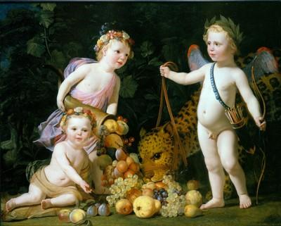 Gerard van Honthorst (1596-1656) schiep vanaf 1628 een nieuwe mode in de Hollandse portretschilderkunst, waarin hij zijn modellen weergaf als herders en herderinnen, helden en godinnen. Dezen woonden in een geïdealiseerde fantasiewereld, waar andere maatstaven golden dan in de alledaagse maatschappij der gewone stervelingen. Stadhouder Frederik Hendrik en zijn vrouw Amalia van Solms voelden zich goed thuis in deze theatrale omgeving. Samen met Elizabeth Stuart, 'de Winterkoningin', werden zij in Den Haag Honthorsts belangrijkste opdrachtgevers. Het eerste schilderij dat Honthorst voor het stadhouderspaar maakte, stamt uit 1629. Het is een portret van Amalia van Solms als Flora. De tweede opdracht dateert ook uit 1629 en laat de drie oudste prinsenkinderen zien in een exotische setting. Opvallend is de vrijmoedigheid, waarmee de kinderen zijn geschilderd. Het jongetje, prins Willem II (1626-1650) is geheel naakt, terwijl zijn beide zusjes, Louise Henriette (1627-1667, staand) en Henriette Amalia (1628-1628, zittend) slechts in luchtige draperieën zijn gehuld. Dat dit geen afspiegeling van de alledaagse werkelijkheid is, wordt duidelijk uit de context. Het jongetje draagt, naast een pijlenkoker en een lauwerkrans, een paar gekleurde vleugels op de rug. Hij is weergegeven als Cupido. Hij voert een gevlekt beest, een luipaard of een panter, aan de teugel. Het dier is getemd en doet zich tegoed aan de vruchten, die door Louise Henriette uit de hoorn des overvloeds worden geschud. Een mogelijke interpretatie van de voorstelling is dat nu het luipaard, een van de vaste metgezellen van de oorlogsgod Mars, is getemd, er tijden van voorspoed aanbreken. Het geheel lijkt een illustratie van het embleem van Jacob Cats: 'Waer oyt minne quam, daer wordt de wildste leeuw zo mak gelijck een lam.' Het schilderij is in opdracht van Frederik Hendrik vervaardigd en maakte deel uit van diens kunstcollectie in het Stadhouderlijk Kwartier op het Binnenhof. Tot 1726 is het stuk te volgen in
