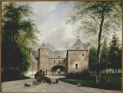 Historiserend gezicht op de achterzijde van het Oude Loo, van de hand van Andreas Schelfhout (1787-1870). Schelfhout had zich in de jaren dertig van de negentiende eeuw ontwikkeld tot een van de meest geliefde landschapschilders van zijn tijd. Hij behoorde tot de stroming van de Romantiek en baseerde zich in zijn kunst op werken van zijn beroemde voorgangers uit de Gouden Eeuw. Hij gaf zijn schilderijen een eigentijds trekje door de natuur te idealiseren en door er een verhalend element in aan te brengen. Op de voorgrond maakt een gezelschap zich op voor de valkenjacht: onder de poort loopt de valkenier, rechts onder de bomen een hoofs gezelschap.De figuren zijn gekleed in 17de eeuwse stijl en de gelijkenis van de hoofdpersoon met koning-stadhouder Willem III is niet overtuigend. Ook de weergave van het Oude Loo komt niet overeen met de huidige situatie, waarbij het slot is omgeven door een gracht en de binnenplaats is afgesloten door een lage muur. Het schilderij werd vervaardigd in opdracht van koning Willem I en samen met de pendant -'Het Witte Loo vanuit het park gezien'- geschonken aan prinses Mary, Duchess of Gloucester en dochter van koning George III van Engeland. De figuren werden ingeschilderd door Schelfhouts medewerker Joseph Moerenhout (1801-1875).