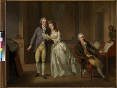 Johann Friedrich August Tischbein (1750-1812), lid van een bekende Duitse schildersfamilie, had al tweemaal de Nederlanden bezocht voordat hij in 1789 de felbegeerde portretopdracht van het stadhouderlijk hof kreeg. Toen poseerde de hele prinselijke familie voor hem. Het resultaat was een reeks borststukken, waarvan de pastelversies zich in het Rijksmuseum in Amsterdam bevinden, en de herhalingen in olieverf in Paleis Het Loo. Deze portretten gebruikte Tischbein tevens als basis voor latere schilderijen, zoals het hier besproken groepsportret van de drie kinderen van het prinselijk paar. Het is een verfijnd schilderij, dat opvalt door zijn delicate kleuren.