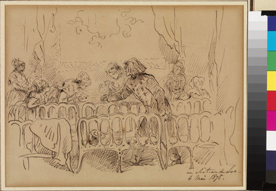 Charles Rochussen (1814-1894) was in zijn tijd een gevierd kunstenaar, die grote faam genoot als historieschilder en tekenaar van actuele en historiserende onderwerpen. Gedurende vrijwel zijn gehele loopbaan heeft hij nauwe contacten onderhouden met het Koninklijk Huis. Met koning Willem III raakte hij zelfs bevriend. In de periode 1837-1892 heeft Rochussen als een verslaggever met vaardige pen en penseel tal van gebeurtenissen die rond de koninklijke familie plaatsgrepen, vastgelegd, zoals de valkenjacht bij Paleis Het Loo, de militaire manoeuvres bij kamp Milligen, het park en de tuinen van Het Loo, diverse intochten, inhuldigingen en bijzondere gebeurtenissen. Tot de laatste categorie behoort deze tekening van Franz Liszt op Het Loo uit 1875. In 1871 had koning Willem III koninklijke subsidies ingesteld voor jonge beeldende kunstenaars en jonge musici. Jaarlijks moesten de pensionairs en pensionaires, zoals de laureaten werden genoemd, hun vorderingen komen tonen op Het Loo. De audities vonden plaats voor een jury, waarin internationaal bekende musici zitting hadden. Niet zelden betraden dezen zelf ook het podium. Deze concerten vormden een jaarlijks hoogtepunt in het leven op Het Loo. In 1875 was Rochussen bij de audities aanwezig, toen de Hongaarse componist en pianovirtuoos Franz Liszt deel uitmaakte van de jury. Rochussen legde hem in een snelle pentekening vast, terwijl hij zich in de Theaterzaal met een aantal pensionaires onderhoudt. De tekening verraadt observatievermogen en gevoel voor humor, zoveel zelfs dat het bijna een karikatuur lijkt. Hoewel de tekening niet is gesigneerd en qua stijl enigszins afwijkt van Rochussens overige werk, is hij ongetwijfeld van diens hand. Niet alleen staat zijn aanwezigheid op Het Loo op 6 mei 1875 genoteerd in de journalen van de hofmaarschalk, ook komt het opschrift precies overeen met het handschrift op enkele gesigneerde tekeningen. Rochussen is wel de 'Rothschild met de tekenpen' genoemd, omdat hij zijn tekeningen z