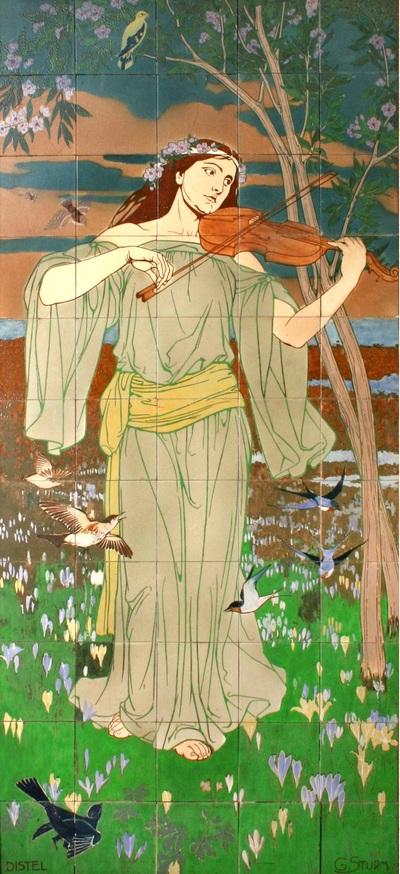 Het tableau komt overeen met een litho die Georg Sturm in 1899 publiceerde in Dekorative Vorbilder, onder de titel 'Frühling' het voorjaar. In 1904 wordt een tegeltableau van de Distel naar een ontwerp van Sturm, met de titel 'Spring', getoond op de wereldexpositie in St. Louis. In een artikel in De Amsterdammer vam 7 januari 1906 staat een foto van het tableau, nu met de titel 'Muziek'. Het gaat beide keren waarschijnlijk om hetzelfde tableau, maar de bloemenpracht op de tegels is beperkt in vergelijking met het oorspronkelijke ontwerp, zodat de nadruk op de violiste valt.