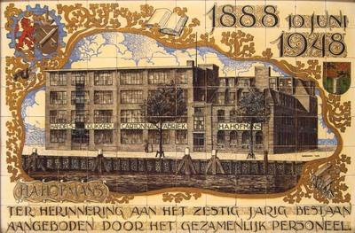Jubileumtableau, gemaakt bij het 60-jarig bestaan van de handelsdrukkerij en cartonnagefabriek H.A. Hofmans, aangeboden door het gezamenlijke personeel op 10 juni 1948
