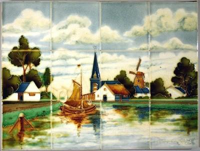 Dit tegeltableau is afkomstig uit een voormalige zuivelwinkel in Rotterdam. Gedurende de laatste jaren van haar bestaan maakte de Tegelfabriek Holland ook tegels in lijnreliëf. In dit geval zijn de reliëflijnen niet in de tegel geperst, maar met een 'ringeloor' op de vlakke tegel gespoten.