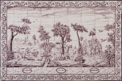 Binnen één omlijsting is het paradijsverhaal in drie voorstellingen afgebeeld. Iedere voorstelling werd ook op afzonderlijke tableaus uitgevoerd. De voorstelling van de schepping van Eva is terug te voeren op een prent van J. Sadeler in 'Theatrum Biblicum' (1575).