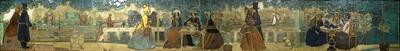 Dit tableau is gemaakt in cloisonné-techniek, bij de Porceleyne Fles toegepast vanaf 1907. Dat wil zeggen dat de lijnen van de tekening een verhoogd reliëf vormen, de verschillende glazuren zijn binnen de lijnen uitgelopen. Bijzonder is dat deze techniek gecombineerd werd met onregelmatig gevormde tegels, zoals in de sectiel-techniek, een specialiteit van de Porceleyne Fles.