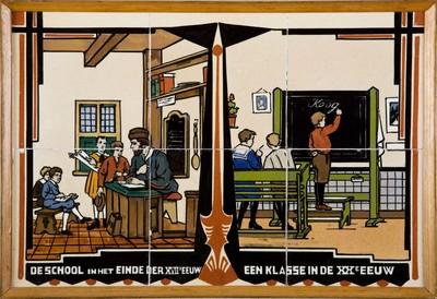 In schoolgebouwen die tussen 1910-1930 gebouwd worden zijn de betegelde gangen vaak voorzien van series kleine tableaus met historische gebeurtenissen, gebouwen, beroepen en andere educatieve voorstellingen.