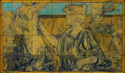 Deze voorstelling van een beeldhouwster is door zijn uitvoering zelf een reliëf. In de handmatig gevormde tegels zijn, na het drogen, maar nog voor het stoken, de voorstelling weggestoken. Het tableau is enkel voorzien van de fabrieksnaam 'Westraven', de ontwerper is onbekend. Westraven zal dit als een speciale opdracht of voor een tentoonstelling hebben gemaakt, er is geen vergelijkbaar werk bekend.