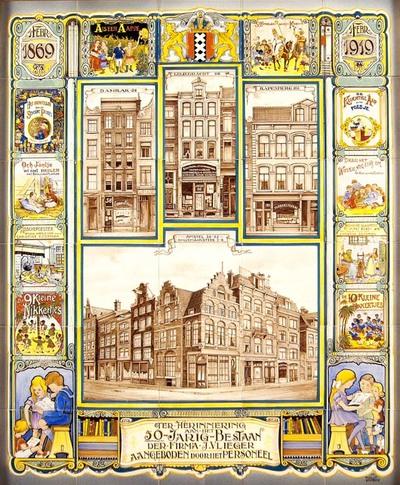 Gelegenheidstableau, aangeboden door het personeel bij het 50-jarig bestaan van boek- en papierhandel J. Vlieger te Amsterdam op 1 februari 1919. Centraal staan de bedrijfsgebouwen op de hoek van de Amstel en de Halvemaansteeg en de filialen op het Damrak, de Leliegracht en het Rapenburg. De omlijsting toont de kleurige boekomslagen van de prentenboeken voor kinderen, waarin de fa. J. Vlieger gespecialiseerd was.