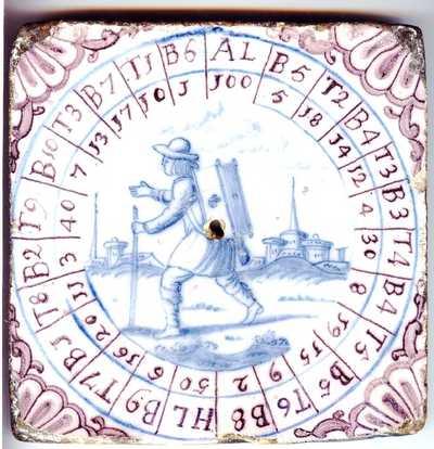 Op deze tegel, van groot formaat (17 x 17 cm.) is een spelbord geschilderd. In het midden is een gat uitgespaard voor een wijzernaald. De vervaardiging is toegeschreven aan de Rotterdamse tegelbakkerij aan de Hoogstraat, 1765-1790. Deze tegel hoort in de context van verschillende Hollandse tegelfabrieken die in de achttiende eeuw hun aanbod verbreedden door op kleine schaal ook tegelplaten en andere producten te maken.