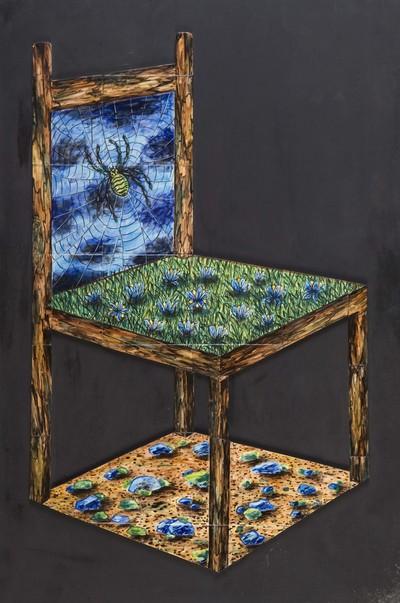 Marie-France Kok-Adam (1944-2003), geboren in Frans Guinea, is begonnen als botanisch tekenaar bij het Natuurhistorisch museum in Parijs. Met de Nederlandse schilder en graficus Bessel Kok kwam zij naar Amsterdam en werd hier gefascineerd door de mogelijkheden van de tegel. Zij werkte met industrieel geperste tegels, maar paste de vorm aan naar haar behoefte.