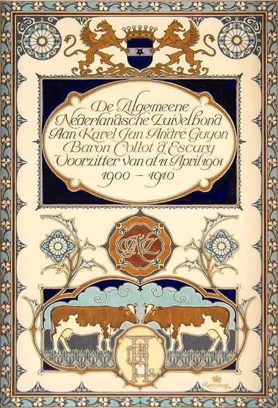 Deze tegelplaat is gemaakt ter gelegenheid van het 10-jarig jubileum van 'De Algemeene Nederlandsche Zuivelbond' in 1910, en opgedragen aan de voorzitter, K.J.A.G. Baron Collot d'Escury.