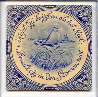 Voorstelling van een zeilboot op een waterplas met de spreuk 'Kunt Gij Buyghen als het Riet / Breeckt Gij in den Stoppen niet'.