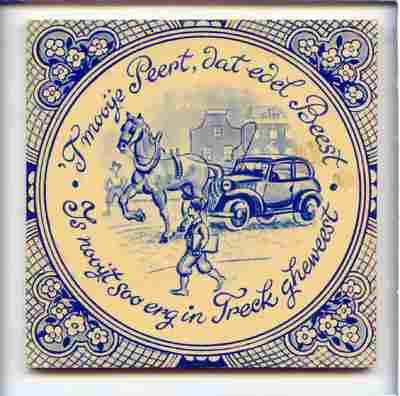 Voorstelling van een auto die door een paard getrokken wordt, met de spreuk: 'T Mooye Peert, dat edel Beest / is nooyt soo erg in Treck gheweest'.