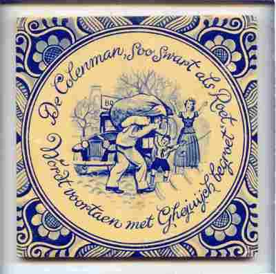 Voorstelling van een man die een zak met kolen sjouwt, met de spreuk: 'De Colenman, soo Swart als Roet, / Wordt voortaen met Ghejuych begroet'.