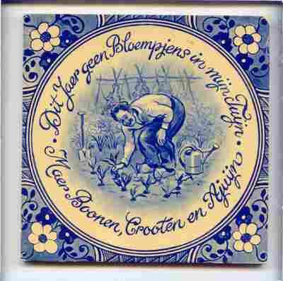 Voorstelling van een man die in zijn tuin aan het werk is, met de spreuk: 'Dit Jaer geen Bloempjens in mijn Tuyn / Maer Boonen, Crooten en Ajuyn'.