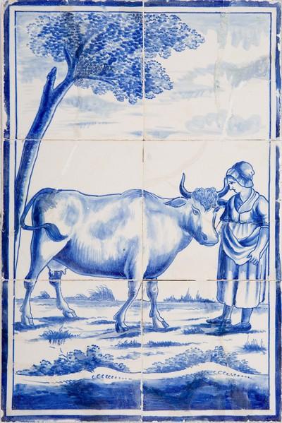 Tableaus met deze voorstelling zijn in de 19de en vroege 20e eeuw zowel in Utrecht als Harlingen in grote aantallen gemaakt. Als pendant hoort hierbij de voorstelling van de boer met paard of koe. Deze voorstellingen werden vaak in de achterwand van de haard gezet.