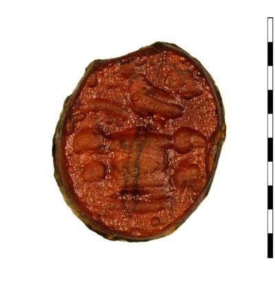 Gem van gesneden glas als imitatie van natuursteen (sarder) uit de Romeinse periode. Afgebeeld is een groot altaar met daarop een ramskop en er staat een haan op. De haan is naar links gericht.