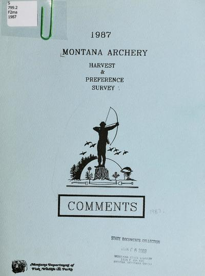 Archery harvest & preference survey 1987