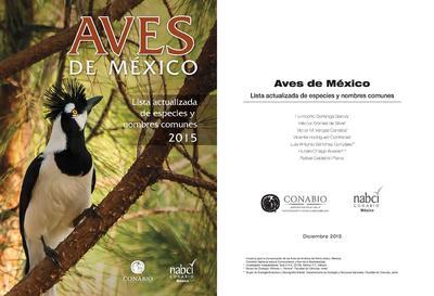 Aves de México : lista actualizada de especies y nombres comunes 2015