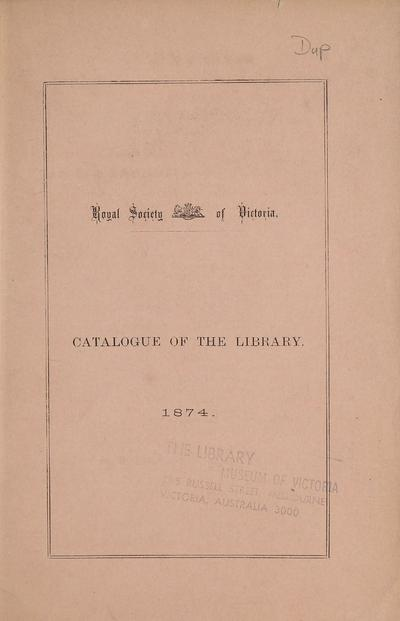 Catalogue of the library, 1874 /