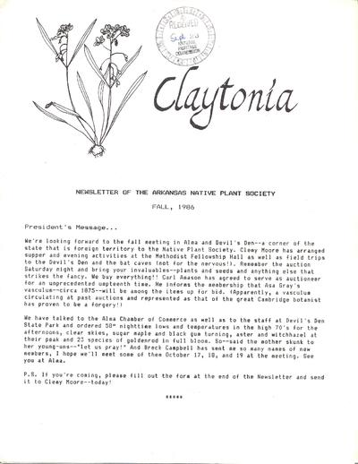 Claytonia : newsletter of the Arkansas Native Plant Society.