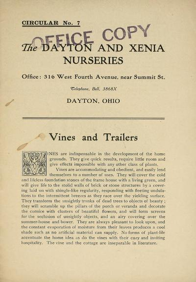 [Dayton and Xenia Nurseries materials]