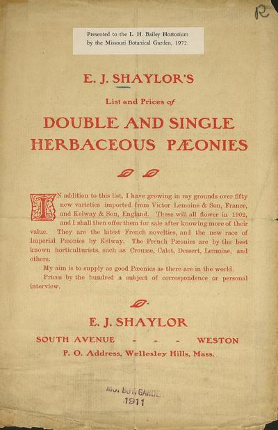 [E.J. Shaylor materials]