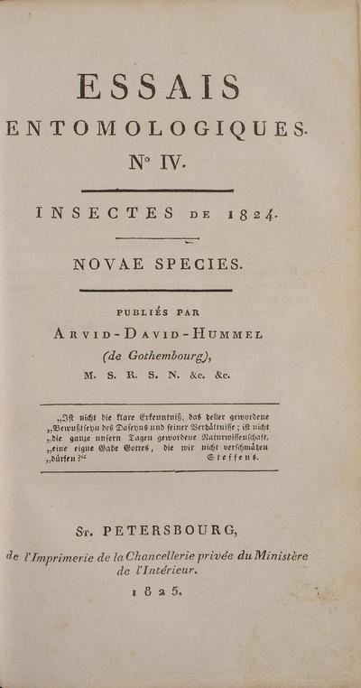 Entomological essays.