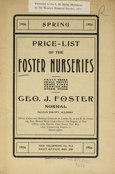 [Foster Nurseries materials]