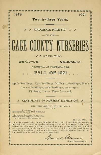 [Gage County Nurseries materials]