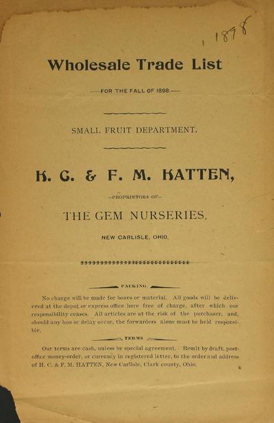 [H.C. & F.M. Hatten materials]