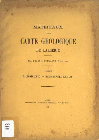 Materiaux pour la carte géologique de l'Algérie.