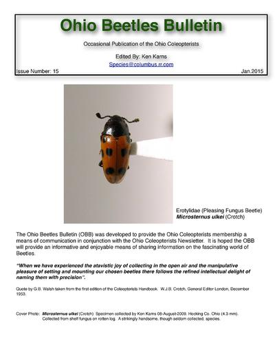 Occasional publication of the Ohio Coleopterists