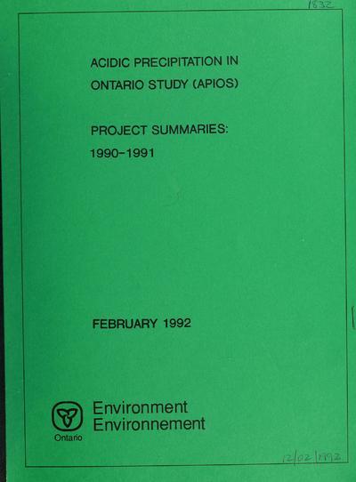 Acidic precipitation in Ontario study project summaries