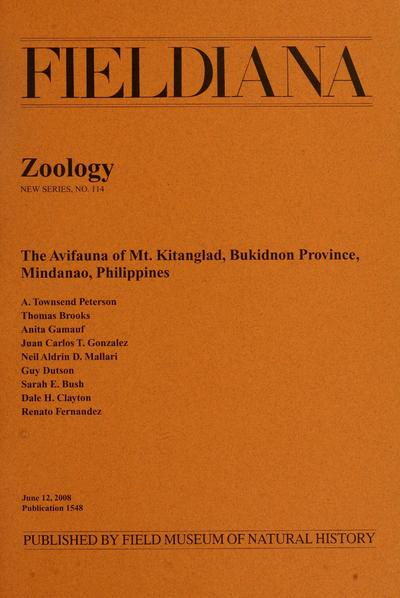 The avifauna of Mt. Kitanglad, Bukidnon Province, Mindanao, Philippines / A. Townsend Peterson, ... [et al].
