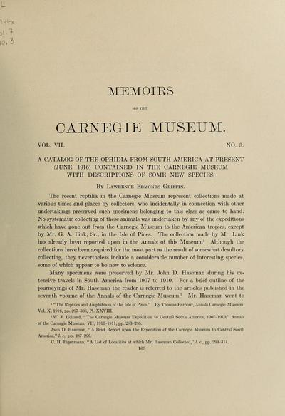 A catalog of the Ophidia from South America at present (June, 1916) contained in the Carnegie museum with descriptions of some new species / by Lawrence Edmonds Griffin.