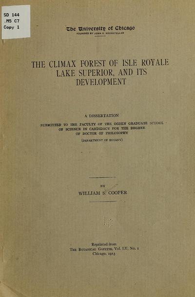 The climax forest of Isle Royale,