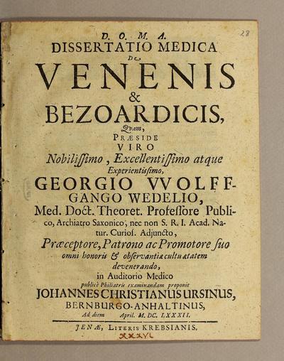 Dissertatio medica de venenis et bezoardicis.