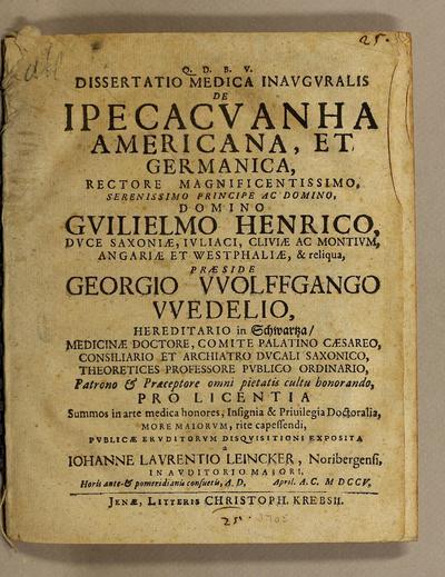 Dissertatio medica inavgvralis De ipecacvanha Americana, et Germanica.