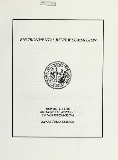 Report to the 2003 General Assembly of North Carolina, 2004 regular session.