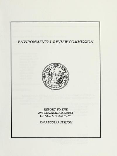 Report to the 1999 General Assembly of North Carolina, 2000 regular session.