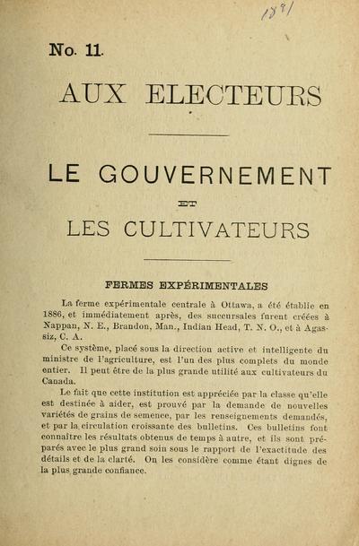 Le Gouvernement et les cultivateurs.