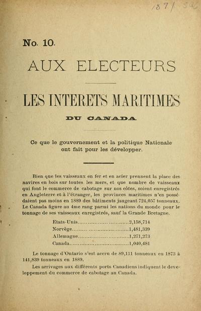 Les Intérêts maritimes du Canada : ce que le gouvernement et la politique nationale ont fait pour les développer.