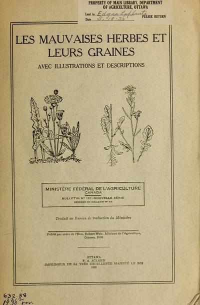 Les mauvaises herbes et leurs graines, avec illustrations et descriptions /