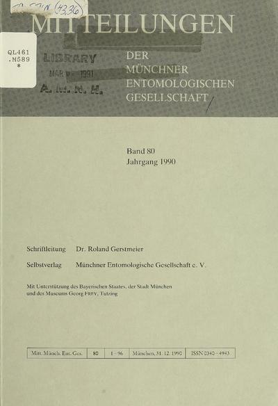 Mitteilungen der Münchner Entomologischen Gesellschaft.